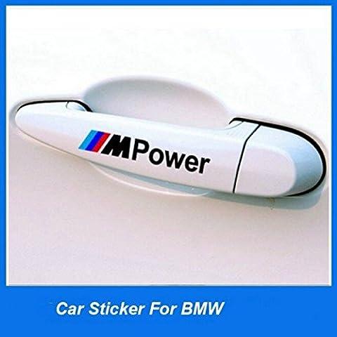 StickersLAb - 4 pezzi rifrangenti adesivo decalcomania della maniglia auto per BMW m3 m5 x1 x3 x5 x6 e36 e39 e46 e30 e60 e92 f30 (Scritta