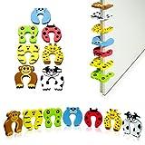 """Juego de 7 motivos animales en la parte superior de la puerta de entrada de la entrada: colorido """"Zoo"""" Diseño 11 x 11 x 1 cm - Protección de los dedos para control parental - Grinscard"""