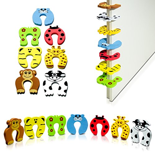 "Türstopper 7er Set Tier Motive - Bunt ""Zoo"" Design 11 x 11 x 1 cm - Fingerklemmschutz zur Kindersicherung - Grinscard"