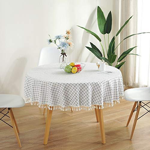 Meiosuns Runde Tischdecken Rund Tischdecke aus Baumwolle und Leinen Rechteckige Quasten Tischwäsche Geeignet für Indoor Outdoor und Esstisch (Durchmesser 150 cm, Blau und Weiß) - Tischdecke Leinen Quadratische Weiße