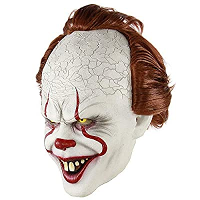 sunxc Stephen King's It Mask, Pennywise Scary Clown Latex Mask, Horror Joker Mask Clown Mask Halloween Cosplay Costume Props by sunxc