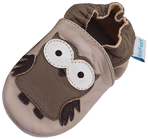 MiniFeet Weich Leder Babyschuhe, Krabbelschuhe, Baby Jungen und Mädchen, Eulen 0-6, 6-12, 12-18, 18-24 Monate und 2-3 Jahre Beige Eule