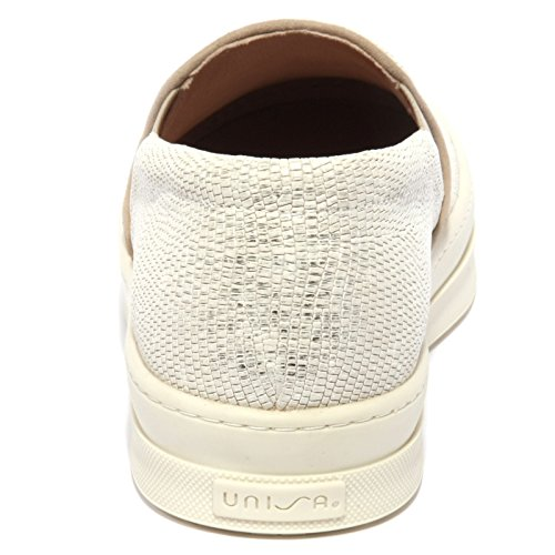 B1224 sneaker donna UNISA scarpa panna effetto lamè slip on shoe woman Panna