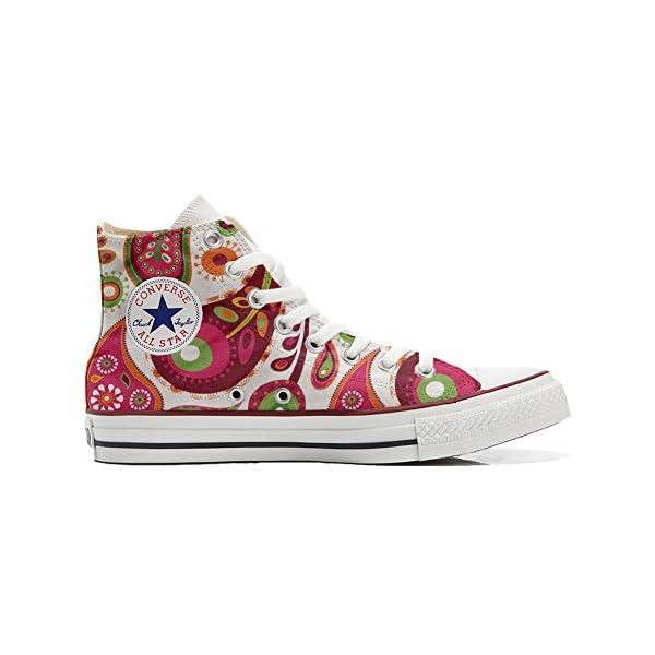 Converse Personalizados All Star Customized – Zapatos Personalizados (Producto Artesano) White Green Paisley 2