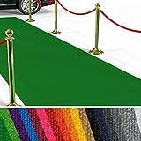 etm Hochwertiger Messeteppich Meterware   Rollteppich VIP Eventteppich, Hollywood Läufer, Hochzeitsteppich   18 Farben in 23 Größen   Grün - 100x100 cm