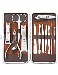 Abody 12pcs Manicure Pedicure Kit With Leather Case, Brown