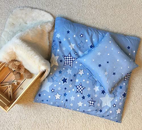 STERNE Baby Bettwäsche Set für Wiege/Kinderwagen/Stubenwagen ☆ STARS · 2 teilig · Kissenbezug 35x40 + Bettbezug 80x80 cm