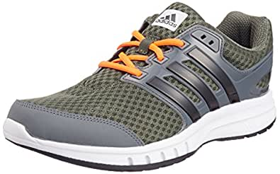 adidas Men's Galaxy Elite M Earth Green, Core Black and Solar Red Mesh Running Shoes - 12 UK