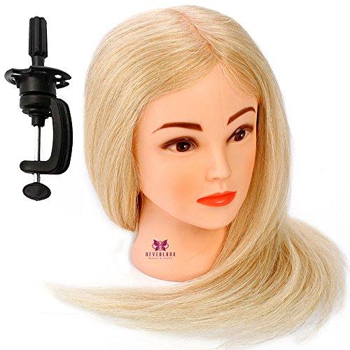 Neverland Professionnel Tête d'exercice Tête à coiffer Cosmétologie Mannequin Head cheveux 100% réel 52cm # 613