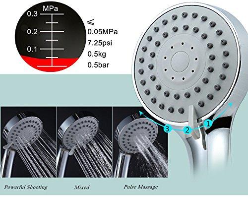 DSIKER Handbrause Duschkopf Hochdruck-Wasser-Einsparung,leistungsstarke Dusche Spray gegen Niederdruck Wasserversorgung Pipeline,86.5 mm Größe 3 Jet Badezimmer Handdusche(Duschkopf + Schlauch)