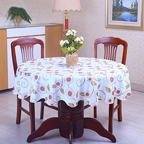 Runden Esstisch Zoll 60 (Tischdecken für runde tische,Pvc tischdecke Wasserabweisend tischdecken Öl-beweis Einweg Kunststoff Hotels Teetisch-G Durchmesser152cm(60inch))