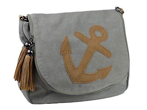 yourlifeyourstyle Damen Canvas Tasche aufgenähte Patches Anker 2 Troddeln - Umhängetasche - Vintage Look (Anker grau)