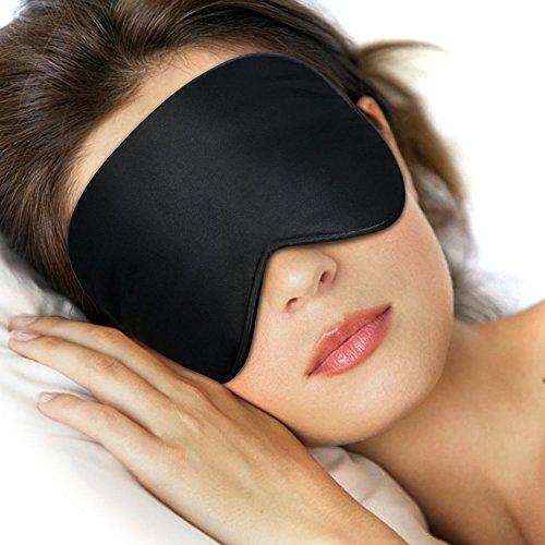 Schlafmaske Augenmaske Schlafbrille, LifeBee Verstellbarem Gummiband 100% Hautfreundlich Seide Geruchneutral Nachtmaske - Schwarz für Reise, Arbeitplatz und zu Hause
