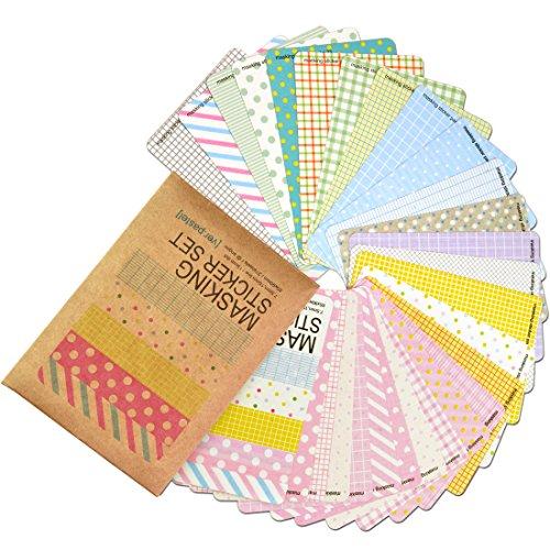 Patty Both Washi Masking Tape 27 Blatt Korea, hübsches Stickerset - Stickerpapier bunt Basic