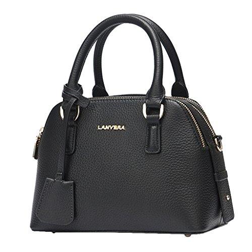 Mena UK Ladies Designer Litchi Grain primo strato di borsa in pelle di grande borsa in pelle borsa a spalla ( Colore : Rosso , dimensioni : 25cm*18cm*13cm ) Nero