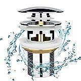 Chrom Universal Ablaufgarnitur für Waschbecken & Waschtisch Modernes Pop-Up Click Clack Ventil - Ablaufventil mit Überlauf, Abflussgarnitur Werkzeugloser Einbau