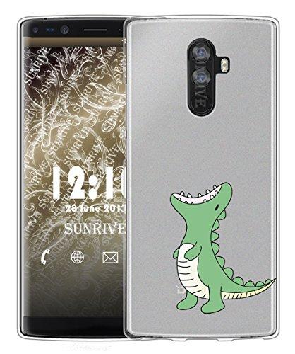 Sunrive Für DOOGEE Mix 2 Hülle Silikon, Handyhülle matt Schutzhülle Etui Case Backcover für DOOGEE Mix 2 5,99 Zoll(TPU Dinosaurier)+Gratis Universal Eingabestift