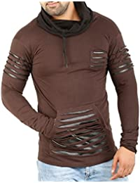 ad22a7bed824 Perfect Creations Men's Cotton and Leather Full Sleeve Brown Color Hooded T- Shirt