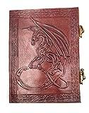 kooly Zen-Cuaderno, bloc de notas, diario, libro, piel auténtica, Vintage, cierre metal, Dragon, 15cm x 20cm, papel Premium