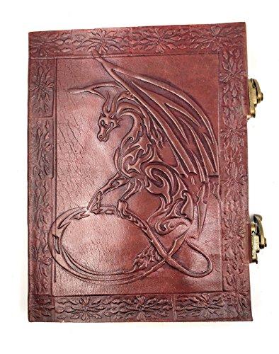 kooly Zen–Cuaderno, bloc de notas, diario, libro, piel auténtica, Vintage, cierre metal, Dragon, 15cm x 20cm, papel Premium