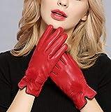 CCMOO echtes Leder Handschuhe weibliche Schaffell Handschuhe Frauen dünne thermische Nerz Haar Ball Mode-rot, One Size Geschenke