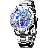 Alienwork IK Reloj Automático esqueleto mecánico Metal blanco plata 98530S-04
