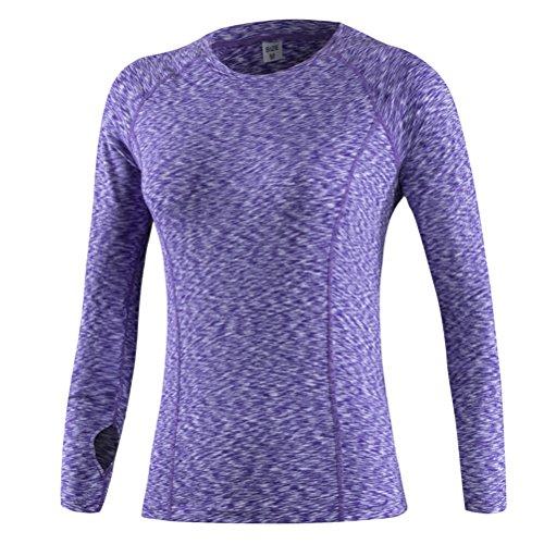 Nanxson - Veste de sport - Body chemise - Uni - Femme blanc Green M Violet