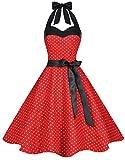 Zarlena Damen 50er Retro Rockabilly Pola Dots Petticoat Neckholder Kleid Rot/Weiss Mini Dots Medium DROD-MINI-909-M
