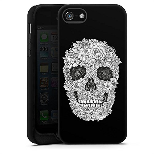 Apple iPhone 8 Tasche Hülle Flip Case Totenkopf Skull Blumen Tough Case matt