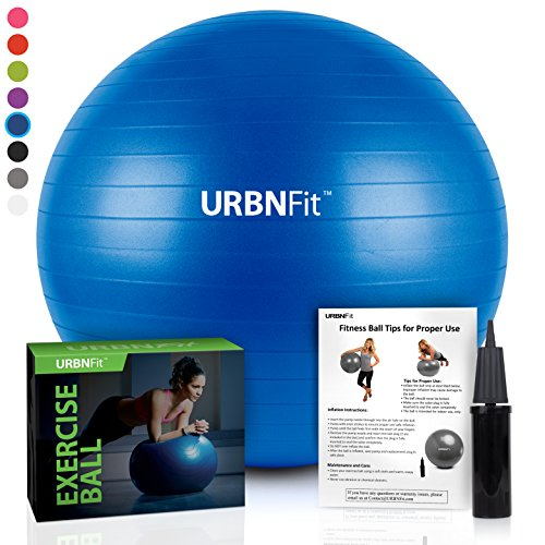 URBNFit Pelota de gimnasio para ejercicio (varios tamaños y colores) para la estabilidad y la yoga - guía del entrenamiento incluida y bomba rápida incluida., azul