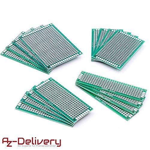 AZDelivery 16 x Basetta Millefori Set PCB Circuit Board Breadboard PCB Millefori Scheda Prototipazione per progetti fai da te e per Arduino con eBook