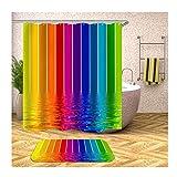MaxAst Rideau de Douche Tapis Motif d'eau Coloré Coloré Tapis 40x60 Rideau de Douche Polyester 165x180CM