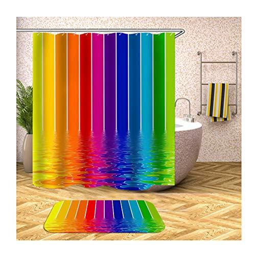 SonMo Duschvorhang+Badematte Anti-Bakteriell 3D Vorhang für Badewanne Badezimmer mit Duschvorhangringen Polyester Buntes Wassermuster Bunt Badzimmer Teppich 150X200CM Z19753