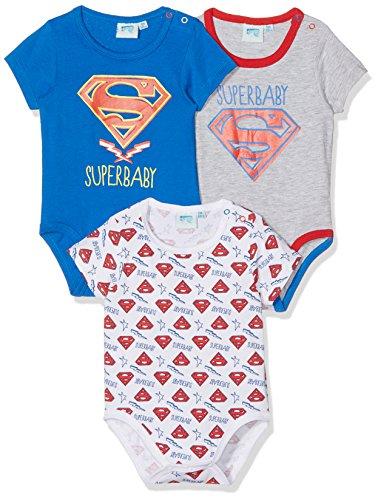 TV Mania Baby - Jungen Pomona Body,,3per pack Mehrfarbig (Blau, Grau, Weiss Blau, Grau, (Superman Body)