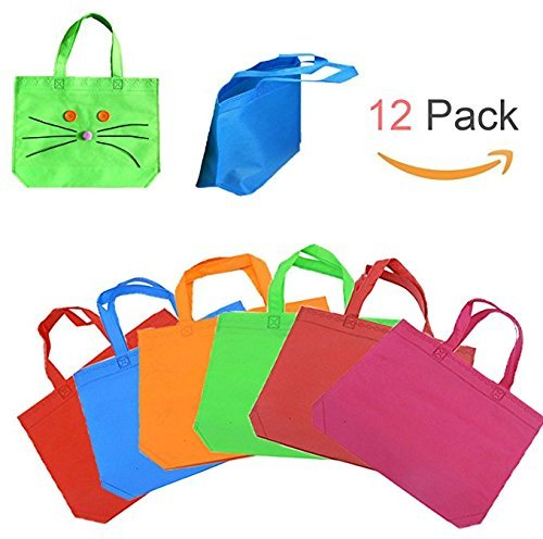 HAKACC 13 Inch Blank Canvas Party Gift Tote Bags Rainbow Colors with Handles for Birthday Favors, Snacks, Decoration, Arts & Crafts, Event Supplies,12 PCS