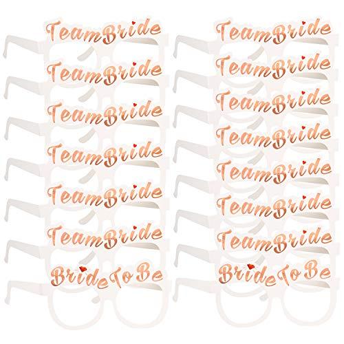 Konsait 16 JGA Brille Set, JGA deko Accessoires 2 x Die Braut + 14 x Team Braut Gläser Foto Booth Props Spiel für Braut Frauen Junggesellinnenabschied Accessoires und Hochzeitsfeier