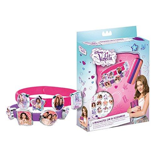 Disney Violetta 095001 - 3 Armbänder mit 18 Anhänger in Geschenkbox, 15 x 2.5 x 20.5 cm (De Violetta Juegos)