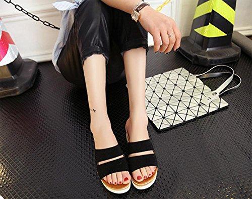 Pente avec des chaussures en cuir mat avec tête de poisson à tête ronde en sandales et pantoufles Black