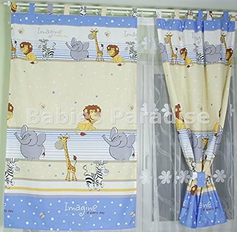 Babies Paradise Kinderzimmer Vorhänge mit Schlaufen 150 x 100 cm (Safari Blau)