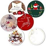 """25er Pack Geschenkanhänger """"Frohe Weihnachten"""" rund ca. Ø 95 mm verschiedene Motive, Anhänger, Weihnachtsanhänger, Geschenkkarte, Geschenkkärtchen, Anhängeetikett, Topper"""