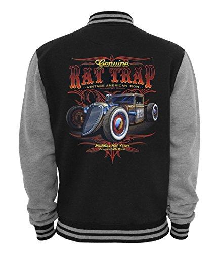 Ethno Designs Rat Tap - Hot Rod College-Jacke für Damen und Herren - Old School Rockabilly Retro Style - Navy/Sportsgrey, Größe S