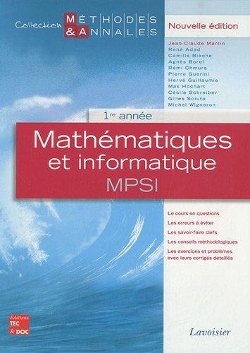 Mathématiques et informatique MPSI 1re année