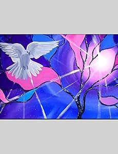 GQ peintures à l'huile moderne paix colombe, matériel de toile avec cadre étiré prêt à accrocher taille: 60 * 90cm.