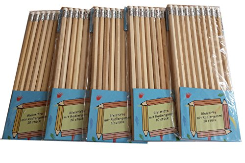 Lifetime Bleistift Set, 50 Stück Bleistifte mit Radiergummi (naturfarben)