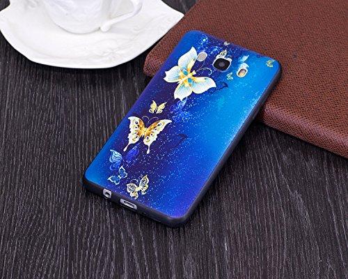 Coque Galaxy J5 2016, Étui Galaxy J5 2016, ISAKEN Coque pour Samsung Galaxy J5 2016 - Étui Housse Téléphone le soulagement Étui TPU Silicone Souple Coque Ultra Mince Gel Doux Housse Motif Arrière Case or papillon bleu