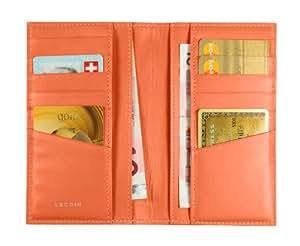 Lucrin Kreditkartenhülle Brieftasche Für 12 Kreditkarten - Färsenleder, Glatt Leder Orange PM1343_VCLS_ORG
