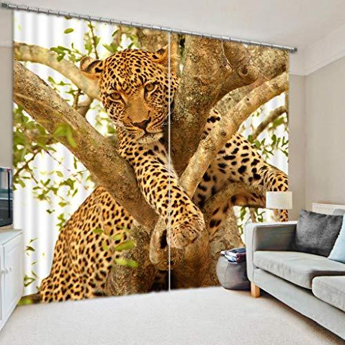 Vorhänge 3D 100% Verdunkelungsvorhänge Leopard Auf Dem Baum Waschbar Fenster Schlafzimmer Vorhänge Mit Haken Up Römischen Kreis Für Wohnzimmer/Hochzeitszimmer W320cm H270cm -