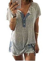 CYBERRY.M Femme Fille Manches Courtes Lettre Bouton Lâche T-shirt Blouse Chemise Tank Top
