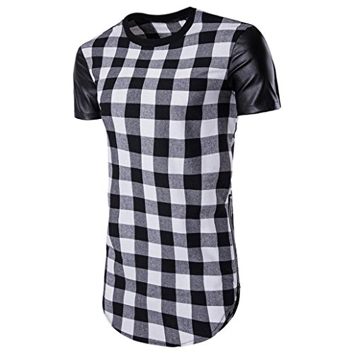 IMJONO.Herren Sommer Kurzarm Plaid Zipper Shirt Top Pullover Bluse(Schwarz,XX-Large)