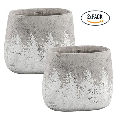 PTMD Vase Deko-Topf Blumentopf in Beton-Optik Teya grey Cement pot oval m, Set 2-tlg - Maße: 18.0 x 10.0 x 20.0 cm